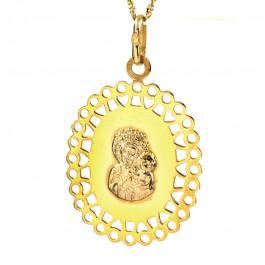 Gustowny złoty komplet medalik z łańcuszkiem