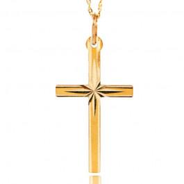 Prosty złoty komlpet z krzyżykiem