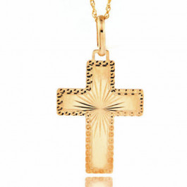 Diamentowany złoty krzyżyk z łańcuszkiem