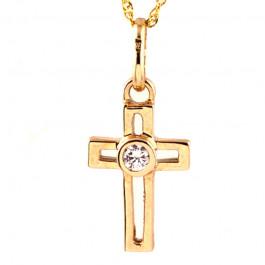 Złoty komplet z krzyżykiem i cyrkonią