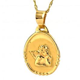Klasyczna złota zawieszka z Aniołkiem i łańcuszkiem