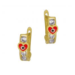 Klasyczne złote kolczyki przecinki z Serduszkiem Prezent Grawer GRATIS