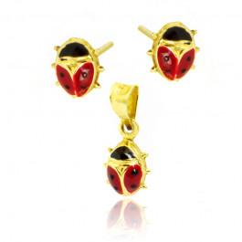 Złoty komplet kolczyki zawieszka z motywem biedronki
