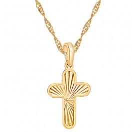 Złoty komplet pięknie diamentowany krzyżyk z łańcuszkiem Prezent Grawer GRATIS