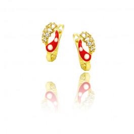 Złote kolczyki z czerwonym zdobieniem i białą cyrkonią