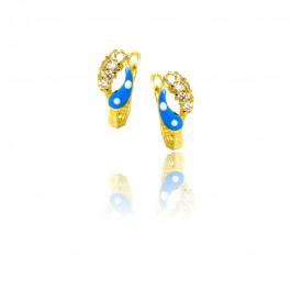 Złote kolczyki z niebieskim zdobieniem i cyrkonią