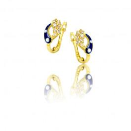 Złote kolczyki z ciemno-niebieskim zdobieniem