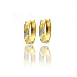 Dwubarwne stylowe złote kolczyki