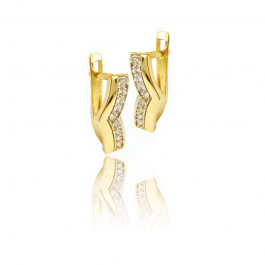 Kolczyki złote ozdobione białą cyrkonią