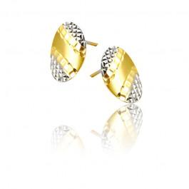 Złote kolczyki z ozdobnym diamentowaniem