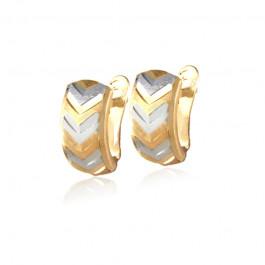 Złote kolczyki o wzorze w jodełkę