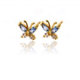 Kolczyki złote motylki z błękitnymi cyrkoniami