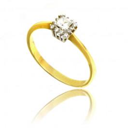 Klasyczny złoty pierścionek z  żółtego i białego złota