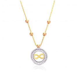 Uroczy złoty naszyjnik celebrytka ze znakiem nieskończoności i ozdobnym kółeczkiem