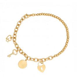 Złota bransoletka ozdobiona czterema pięknymi zawieszkami w kształcie kłódki, kółeczka, kluczyka i dwóch serduszek Prezent Grawer GRATIS