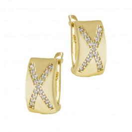 Klasyczne złote kolczyki z cyrkoniami Prezent Grawer GRATIS