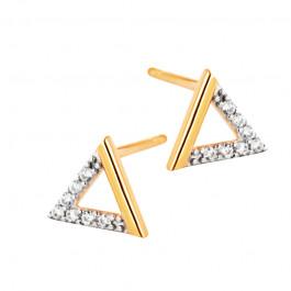 Złote kolczyki trójkąty ozdobione cyrkoniami