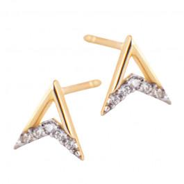 Oryginalne złote kolczyki trójkąty