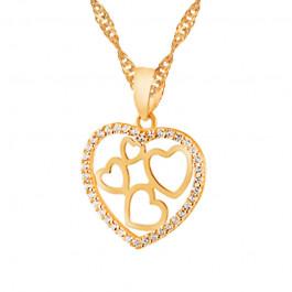 Złoty komplet łańcuszek piękne serce z cyrkoniami WALENTYNKI