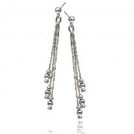 Srebrne kolczyki wiszące diamentowane kuleczki