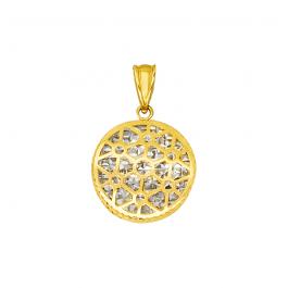 Złota ażurowa zawieszka z diamentowanym białym złotem