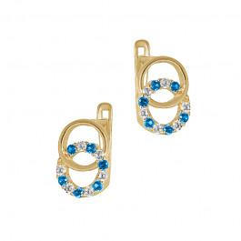 Niebywale śliczne złote kolczyki z niebieskimi cyrkoniami Prezent Grawer GRATIS