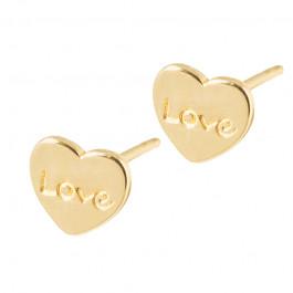 Złote kolczyki klasyczne serduszka z napisem LOVE Prezent Grawer GRATIS