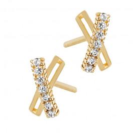 Złote kolczyki w kształcie X z cyrkoniami Prezent Grawer GRATIS