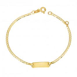 Złota bransoletka dla dziecka z blaszką do grawerowania Prezent Grawer GRATIS