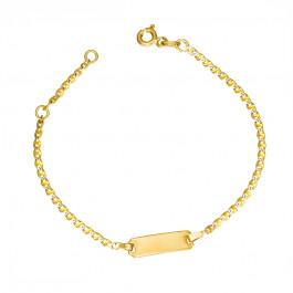 Złota bransoletka dziecięca ozdobiona białym złotem Prezent Grawer GRATIS