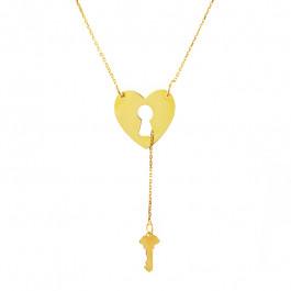 Subtelny złoty naszyjnik serce kluczyk