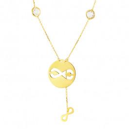 Piękny złot naszyjnik z przeciąganym znakiem nieskończoności i kryształkami