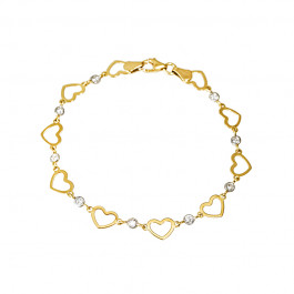 Niezwykła złota bransoletka serduszka z cyrkoniami Prezent Grawer GRATIS