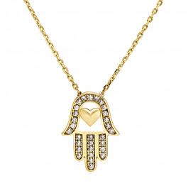 Niezwykle modny złoty naszyjnik Ręka Fatimy Prezent Grawer GRATIS