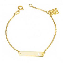 Złota bransoletka dziecięca z zawieszką w kształcie ażurowego Misia Prezent Grawer GRATIS