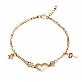 Niezwykle piękna złota bransoletka ozdobiona serduszkiem, kluczykiem i gwiazdką Prezent Grawer GRATIS