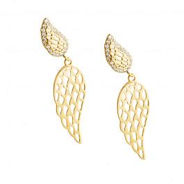 Złote kolczyki modne podwójne Skrzydła Grawer GRATIS