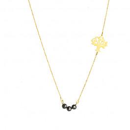 Złoty naszyjnik celebrytka z Drzewkiem Szczęścia i czarnymi kryształkami