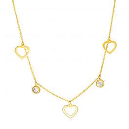 Złoty naszyjnik celebrytka z serduszkami i kryształkami