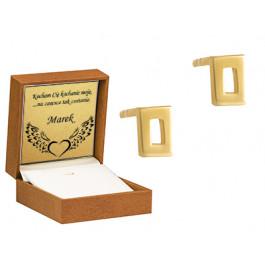 Złote kolczyki subtelne prostokąty Grawer GRATIS