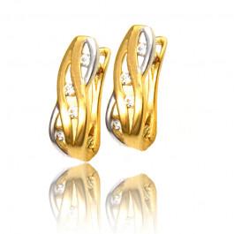 Urocze dwukolorowe złote kolczyki z połyskującymi cyrkoniami