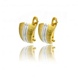Biało-żółte eleganckie złote kolczyki