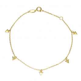 Złota bransoletka ozdobiona subtelnymi dwustronnymi Trójkątami Prezent Grawer GRATIS