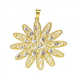 Złota zawieszka w oryginalnym kształcie ażurowego Kwiatka