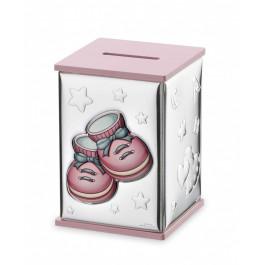 Srebrna skarbonka różowa z bucikami dla dziewczynki