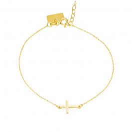 Złota bransoletka z leżącym Krzyżykiem