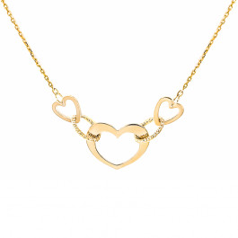 Złoty naszyjnik trzy serca