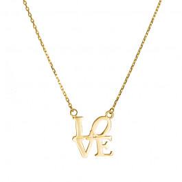 Złoty naszyjnik celebrytka napis Love Grawer GRATIS