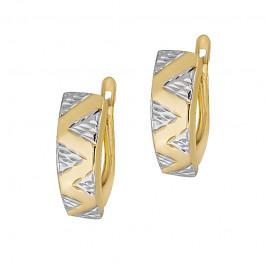 Nieprzeciętne złote kolczyki z białym złotem Grawer GRATIS