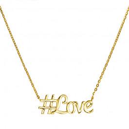 Złoty naszyjnik celebrytka napis #Love Grawer GRATIS